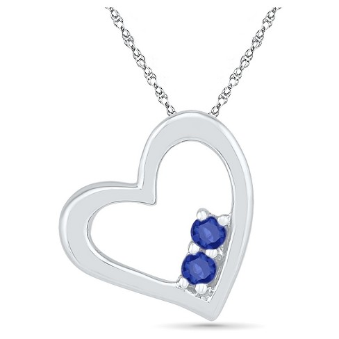 Created Blue Sapphire Prong Set Two-stone in Heart Pendant in Sterling Silver - image 1 of 1