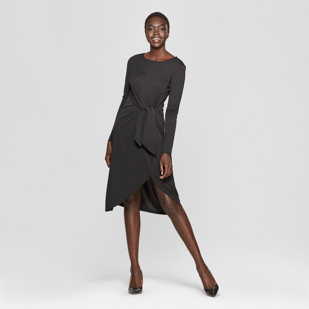 Women's Long Sleeve Wrap Tie Knit Dress - Who What Wear Black Xxl