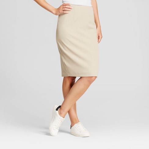 1fb719f5a7 Women's Bi-Stretch Twill Pencil Skirt - A New Day™ Khaki 10 : Target