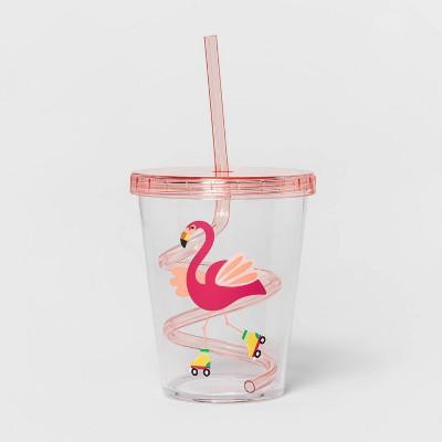 15oz Plastic Flamingo Tumbler with Swirly Straw Pink - Sun Squad™