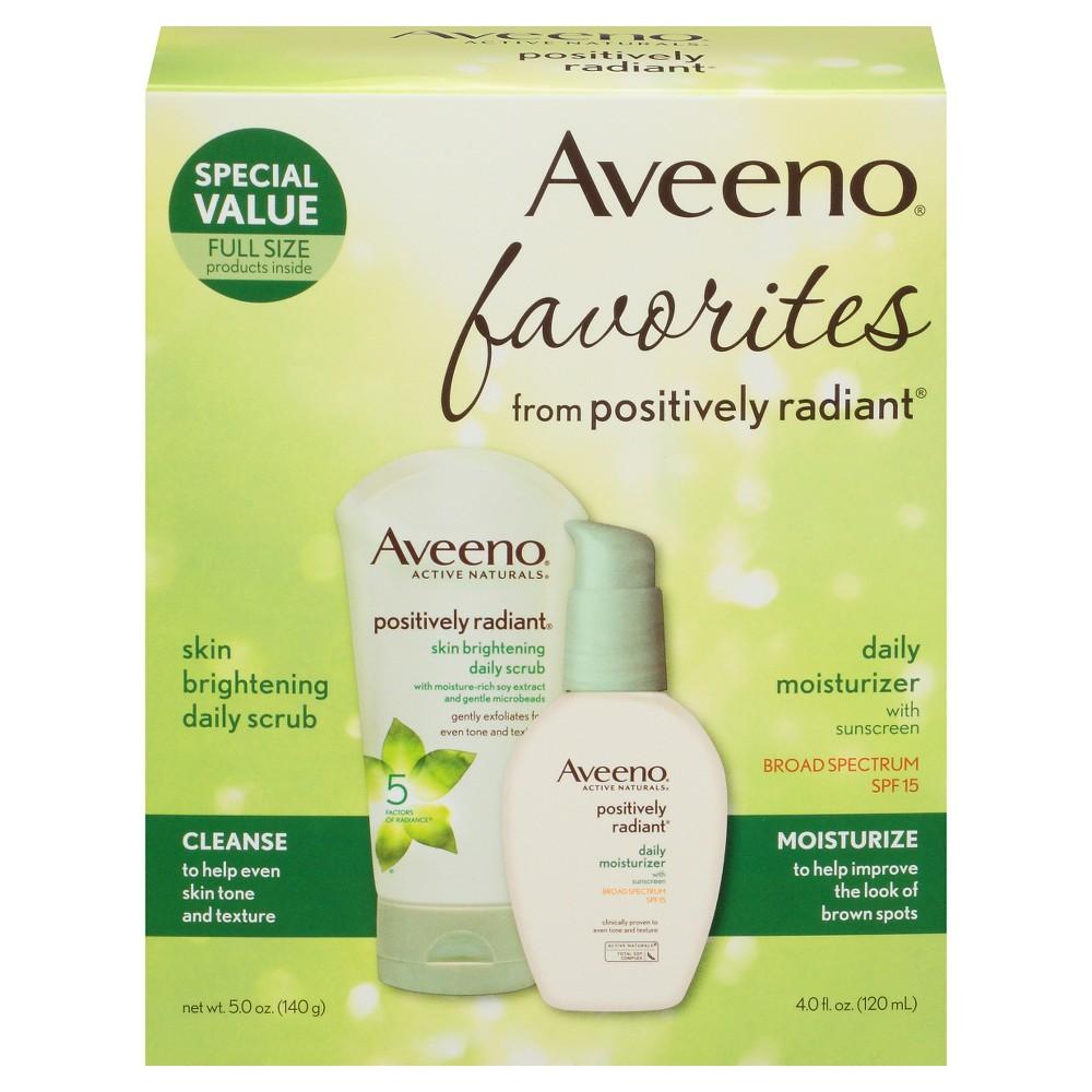 Image of Aveeno Positively Radiant Gift Set Face Scrub And Moisturizer - Set of 2