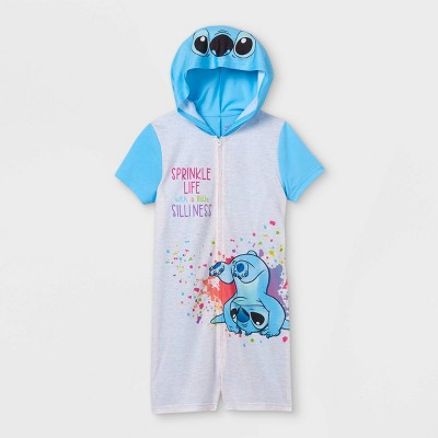 Girls' Lilo & Stitch Pajama Romper - Blue