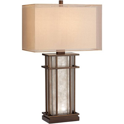 Franklin Iron Works Farmhouse Table Lamp with Nightlight LED Rustic Bronze Mica Glass Neutral Shade for Living Room Bedroom Family