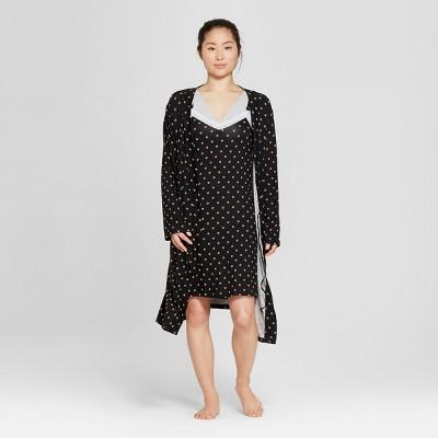Lamaze Women's Nursing Gown and Robes Pajama Set - Black Geometric L