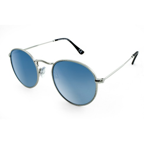 7bcc98106eb3 Men's Round Sunglasses With Blue Mirrored Lenses -... : Target