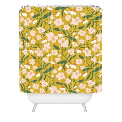 Beshka Kueser Vintage Inspired Floral Shower Curtain Yellow - Deny Designs