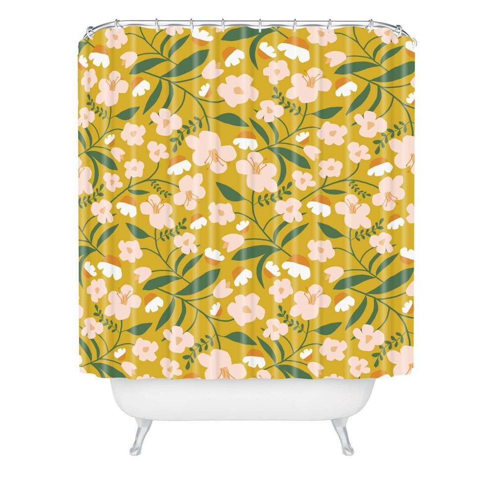 Beshka Kueser Vintage Inspired Floral Shower Curtain Yellow Deny Designs