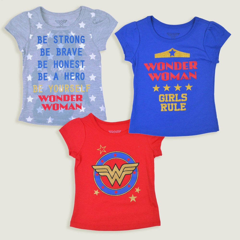 Toddler Girls' 3pk DC Comics Wonder Woman Short Sleeve T-Shirt - Blue/Red 12M, Multicolored