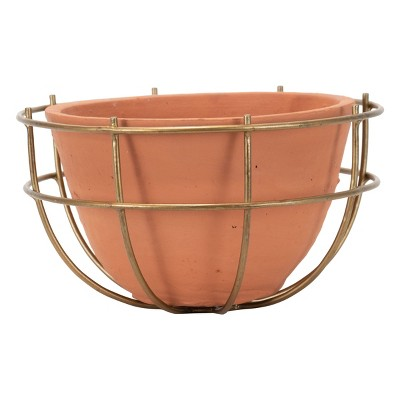 Terracotta Decorative Bowl with Metal Wire Frame - Foreside Home & Garden