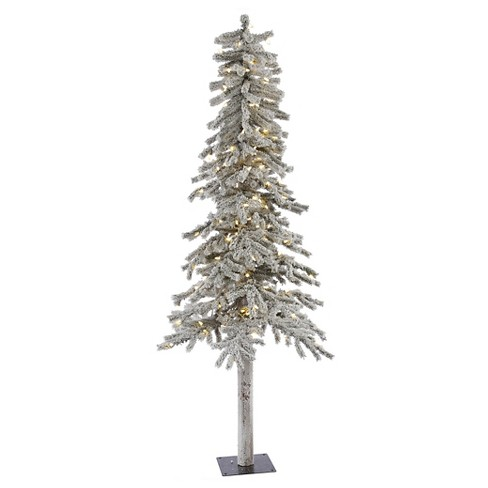 7ft Pre-Lit Artificial Christmas Tree Flocked White - White LED Lights - image 1 of 1