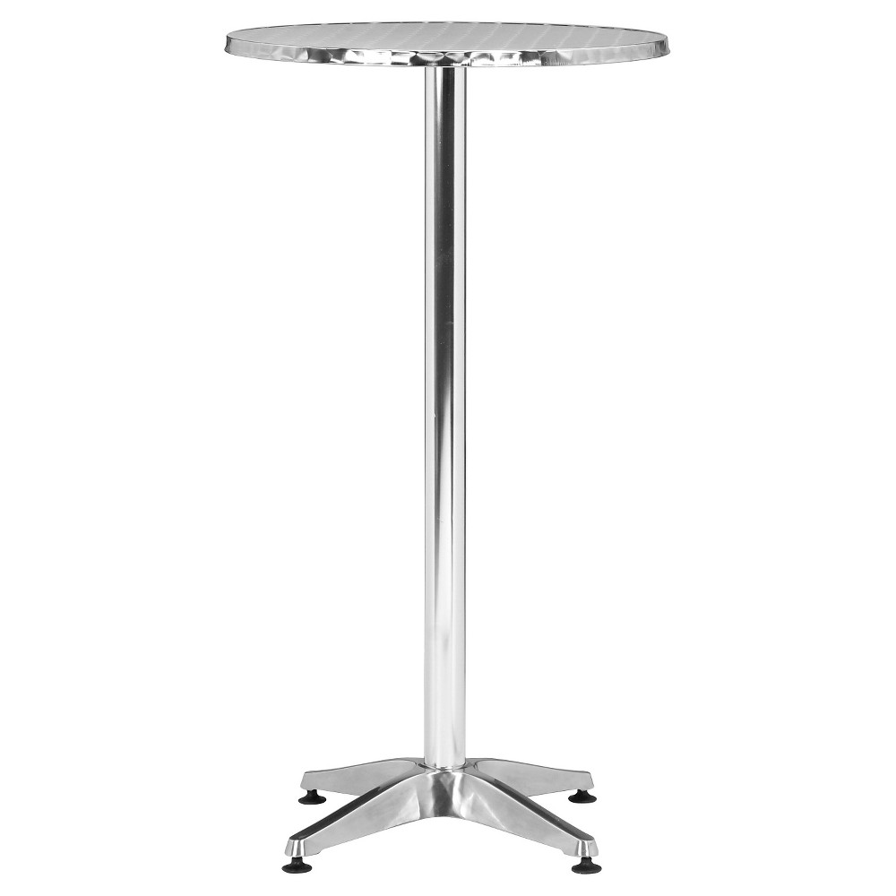 Modern Round Outdoor Polished Aluminum (Silver) 23.5 Bar Table - ZM Home