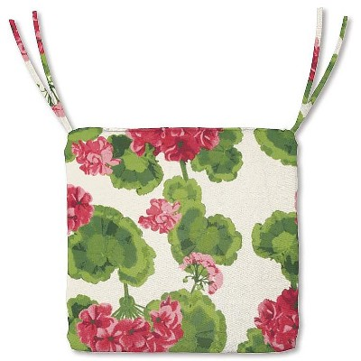 """Plow & Hearth - Polyester Classic Outdoor Chair Cushions with Ties, 20.75"""" x 20""""x 3"""", Geranium"""