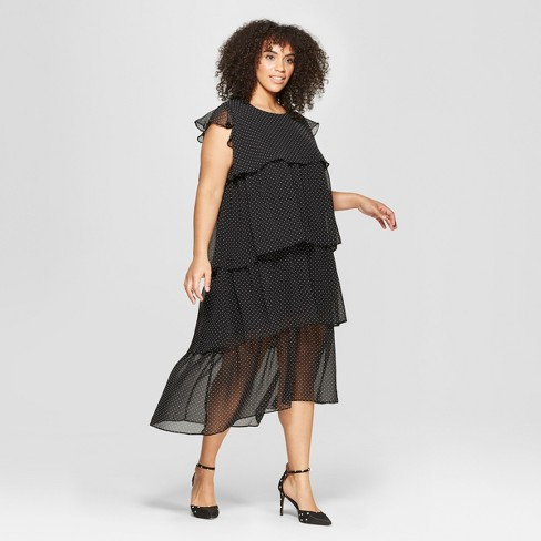 Womens Plus Size Polka Dot Short Sleeve Tiered Midi Dress Who