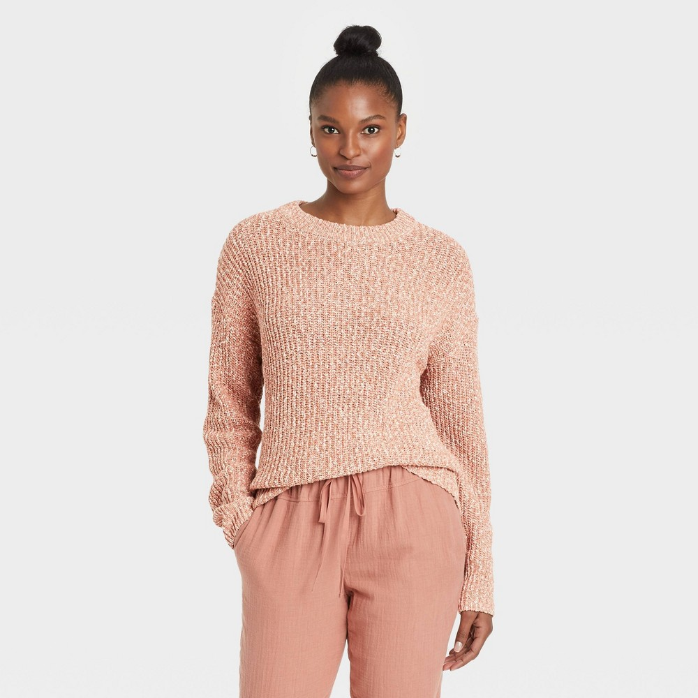 Women 39 S Crewneck Textured Pullover Sweater Universal Thread 8482 Blush Xl
