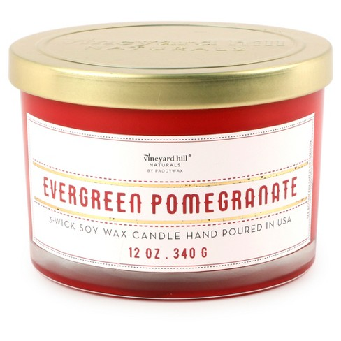 3-Wick Glass Candle Evergreen Pomegranate 12oz - Vineyard Hill Naturals by Paddywax - image 1 of 1