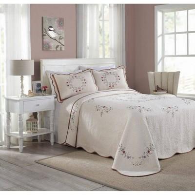 Modern Heirloom Angela Bedspread Ivory/Pink
