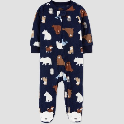 Baby Boys' Winter Friends Fleece Sleep N' Play - Just One You® made by carter's Navy Newborn