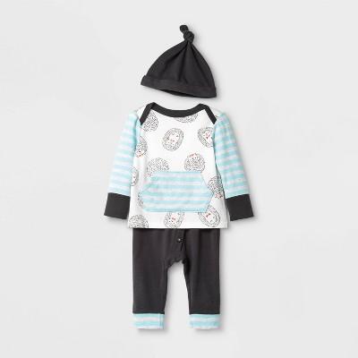 Baby Boys' 3pc Knit Harem Top & Bottom Set - Cat & Jack™ Gray/White 0-3M