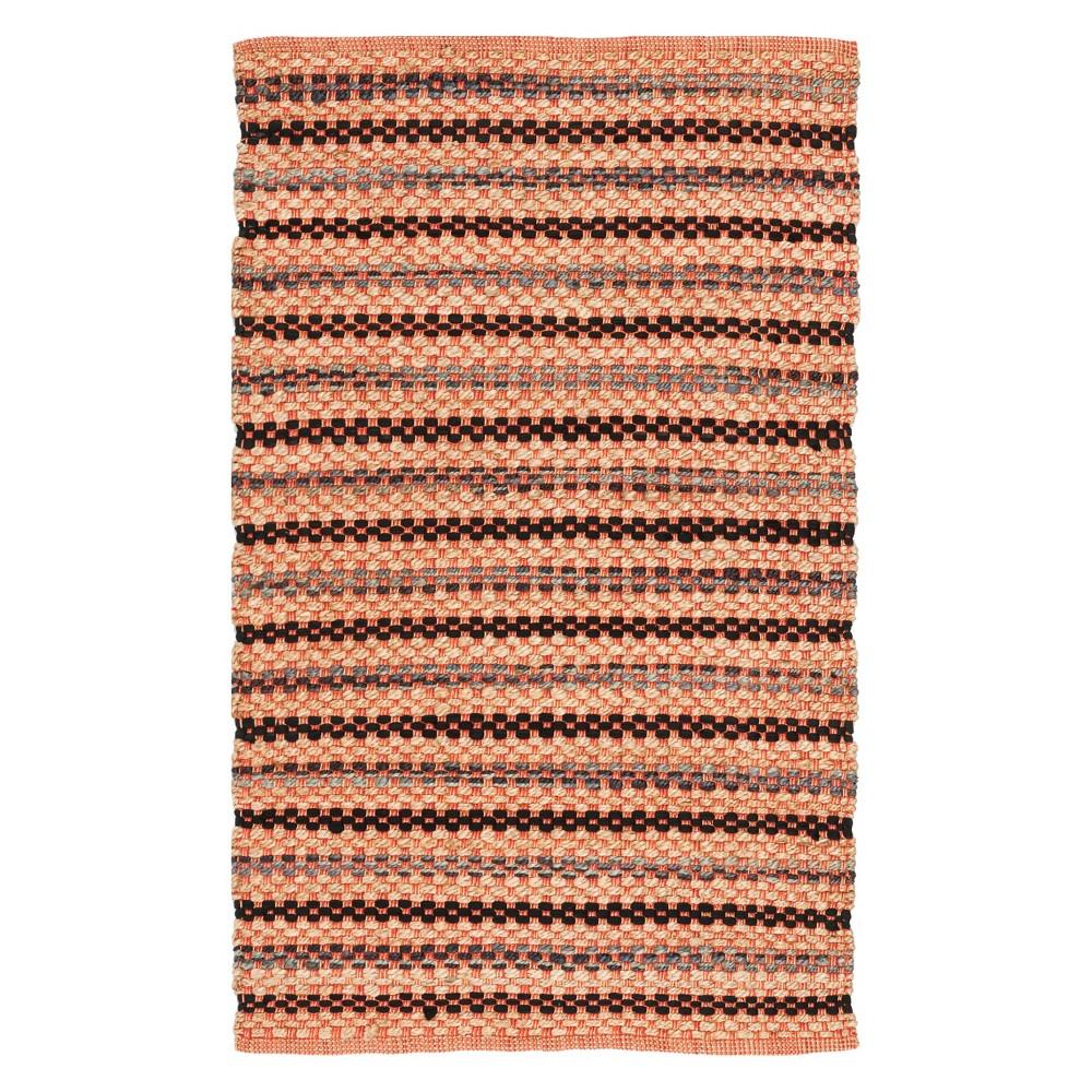 3 X5 Stripe Woven Accent Rug Orange Black Safavieh