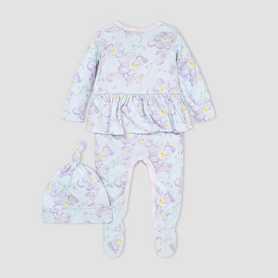 Burt's Bees Baby® Baby Girls' Sunny Orchids Jumpsuit and Knot Top Hat Set - Blue