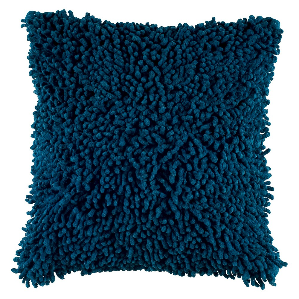 "Image of ""Blue Shag Throw Pillow 18""""x18"""" - Rizzy Home"""