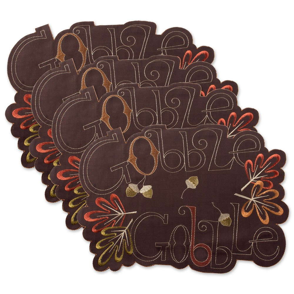 Set of 4 Gobble Embroidered Placemat Brown - Design Imports