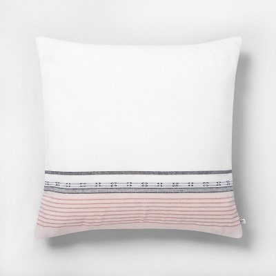 22x22 Ombré Stripe Throw Pillow Sour Cream / Rose - Hearth & Hand™ with Magnolia