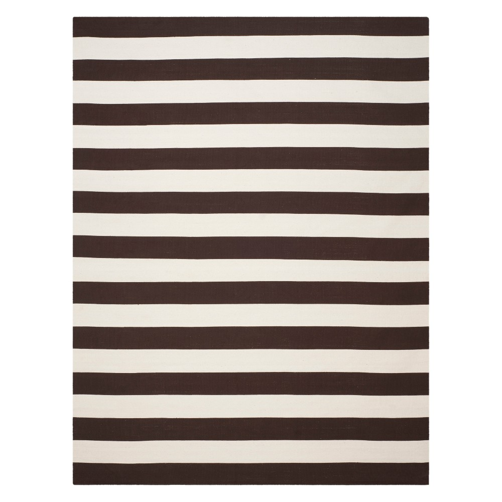 12'X15' Stripe Woven Area Rug Black/Ivory - Safavieh