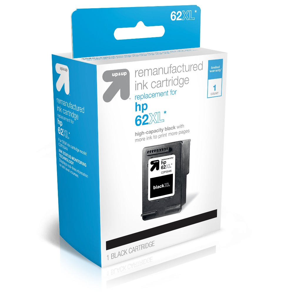 HP 62XL Replacement Ink Cartridge - Black (TAR62XLB) - Up&Up UpandUp Ink Cartridges = Quality, Savings, Environmentally Friendly. The use of UpandUp brand Inkjets will Not void your printer warranty so buy with confidence, save money and get a high-quality replacement with a 100 percent satisfaction guarantee! Each original cartridge processed has been specifically filled and then tested, so it works like the original in your printer. UpandUp helps to protect the environment by keeping used original cartridges out of landfills for remanufacturing; Target recycles so bring your Inkjets back to Target. For support on your cartridge, call 877-925-3700; or go online to cartridge-support Website