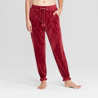 Women's Velour Jogger Pajama Pants - Gilligan & O'Malley™ Burgundy XS