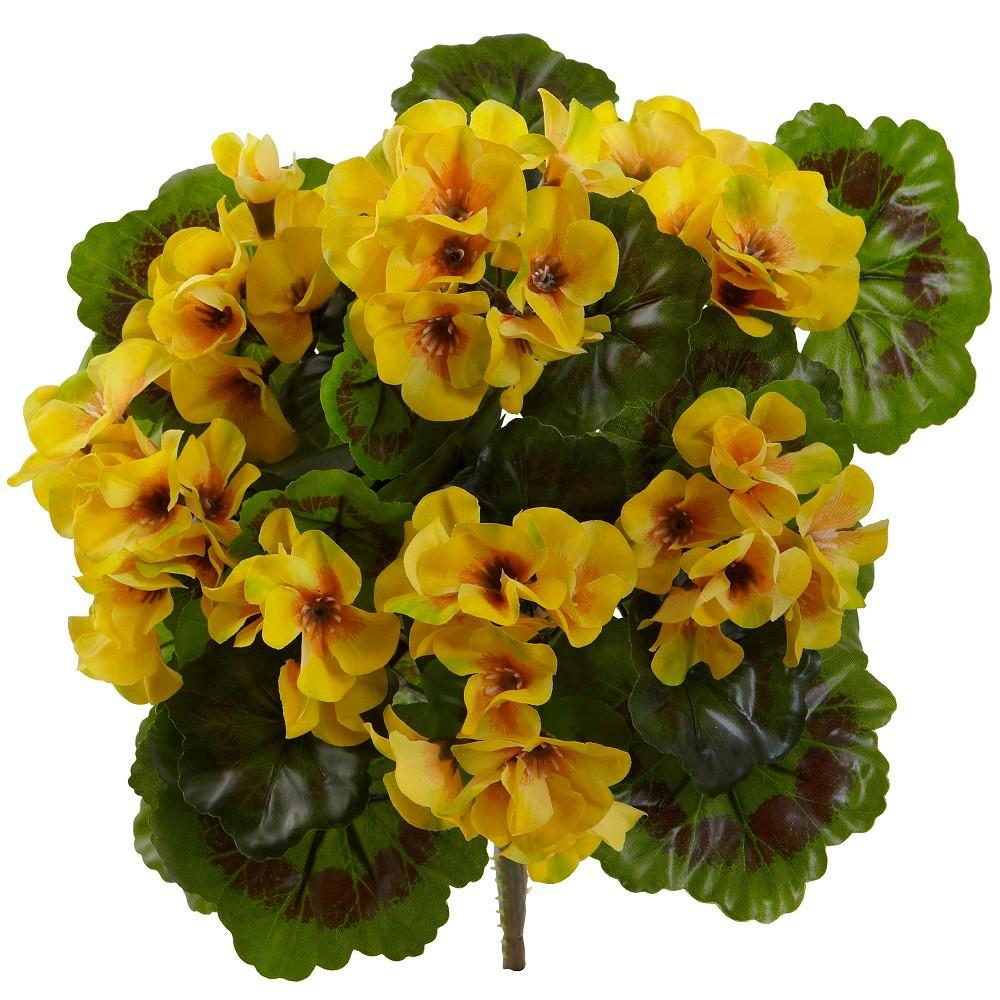 Set of 4 Artificial Geranium Bush Yellow - Nearly Natural