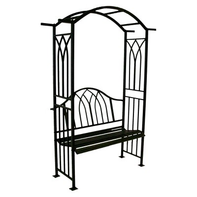 """7.5"""" Steel Royal Arbor With Bench - Black"""