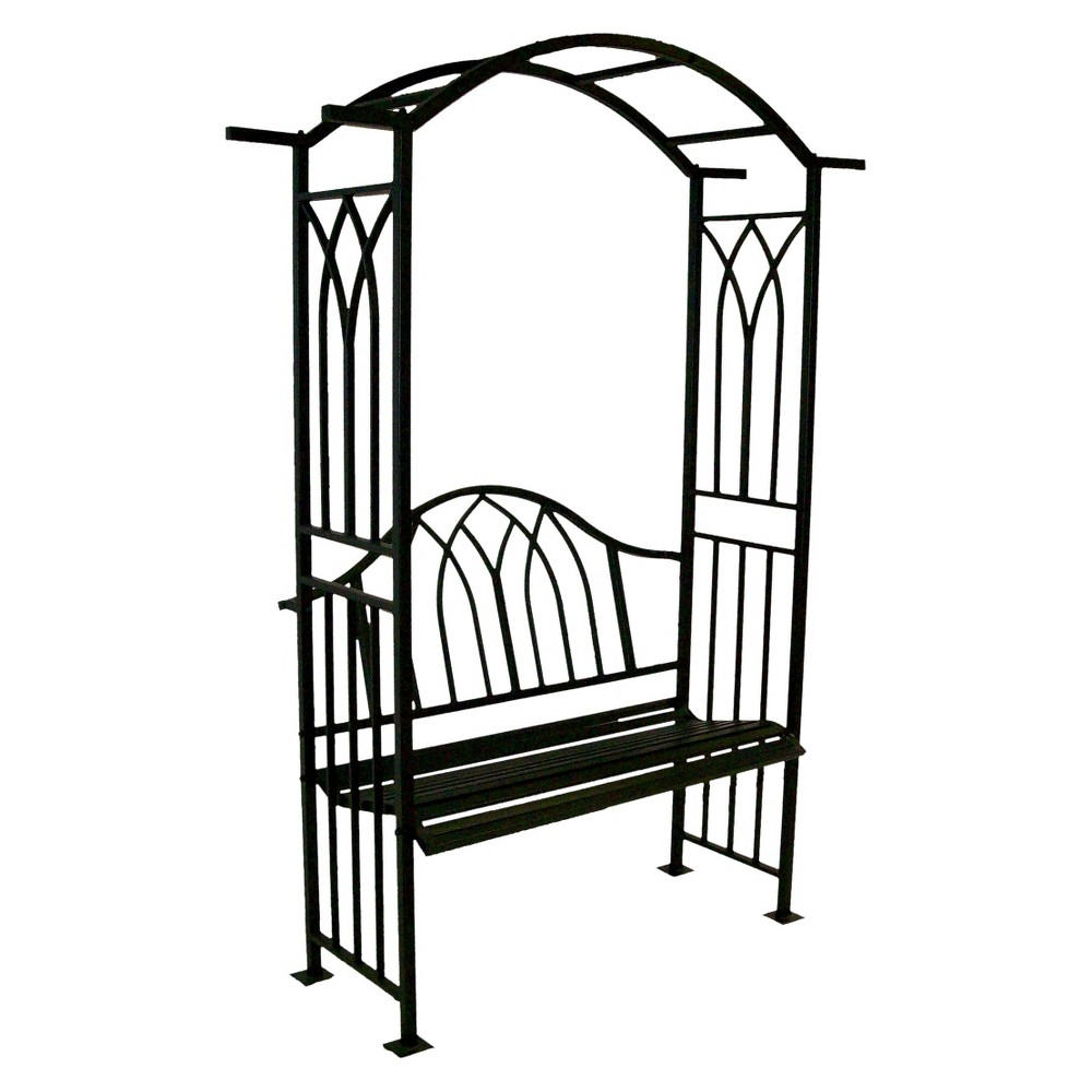 "Image of ""7.5"""" Steel Royal Arbor With Bench - Black"""
