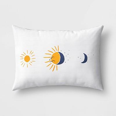 Lumbar Sun & Moon Pillow White/Navy - Room Essentials™