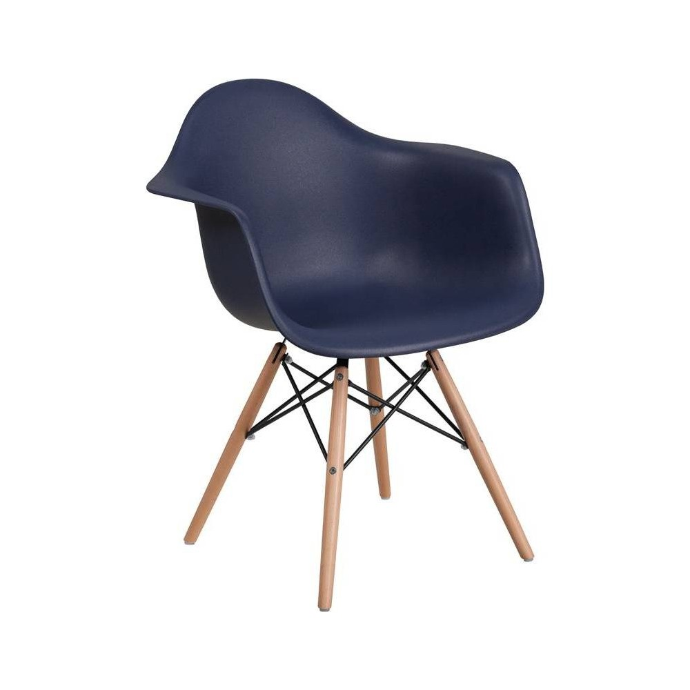 Image of Alonza Series Plastic Chair with Arms and Wooden Legs Navy - Riverstone Furniture Collection