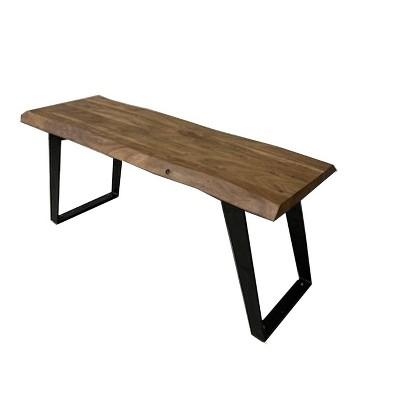 "60"" Light Acacia Wood Live Edge Dining Table Light Brown/Black - Timbergirl"