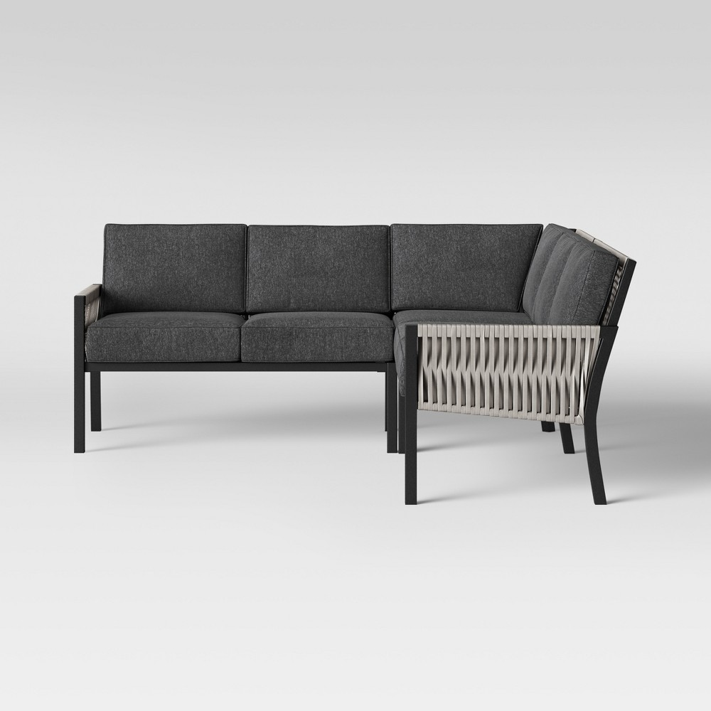 Lunding 3pc Patio Sectional Charcoal - Project 62 was $750.0 now $375.0 (50.0% off)