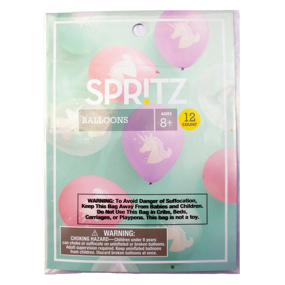 "Image of ""12"""" 12ct Printed Unicorn Latex Balloons - Spritz , Kids Unisex, Pink Purple Clear"""