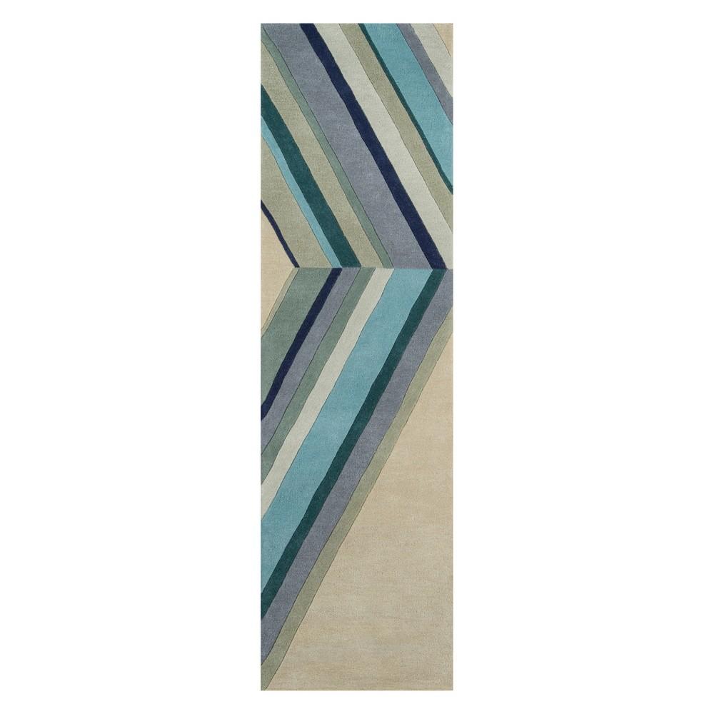 Image of 2'3X8' Stripe Tufted Runner Blue - Novogratz By Momeni
