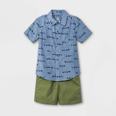 Toddler Boys' 2pc Dino Print Woven Chambray Short Sleeve Shirt and Shorts Set - Just One You® made by carter's Denim Blue/Olive Green