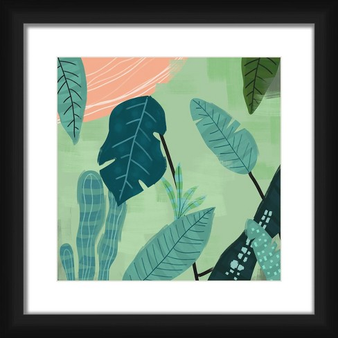 """18"""" x 18"""" Matted to 2"""" Botanicnetic Picture Framed Black - PTM Images - image 1 of 4"""