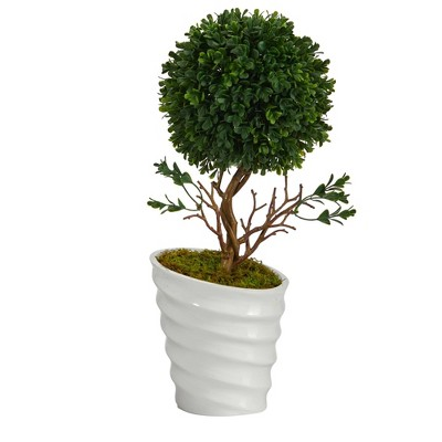 """Nearly Natural 19"""" Indoor/Outdoor Boxwood Topiary Artificial Tree in Vase White"""