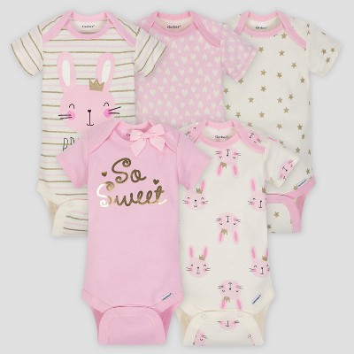 Gerber Baby Girls' 5pk Short Sleeve Onesies Bodysuit Princess - Pink/Cream 12M