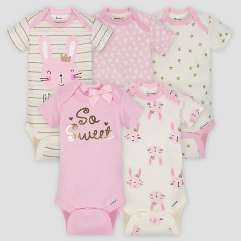 8f10dcc5b Gerber Baby Girls' 5pk Short Sleeve Onesies Bodysuit Princess - Pink/Cream  : Target