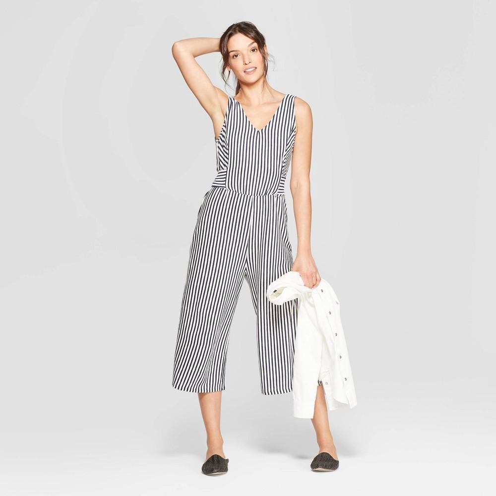 Women's Striped Sleeveless V-Neck Knit Tie Front Wide Leg Jumpsuit - Universal Thread White/Blue XL