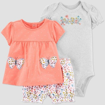 Baby Girls' Butterfly Top & Bottom Set - Just One You® made by carter's Coral Newborn