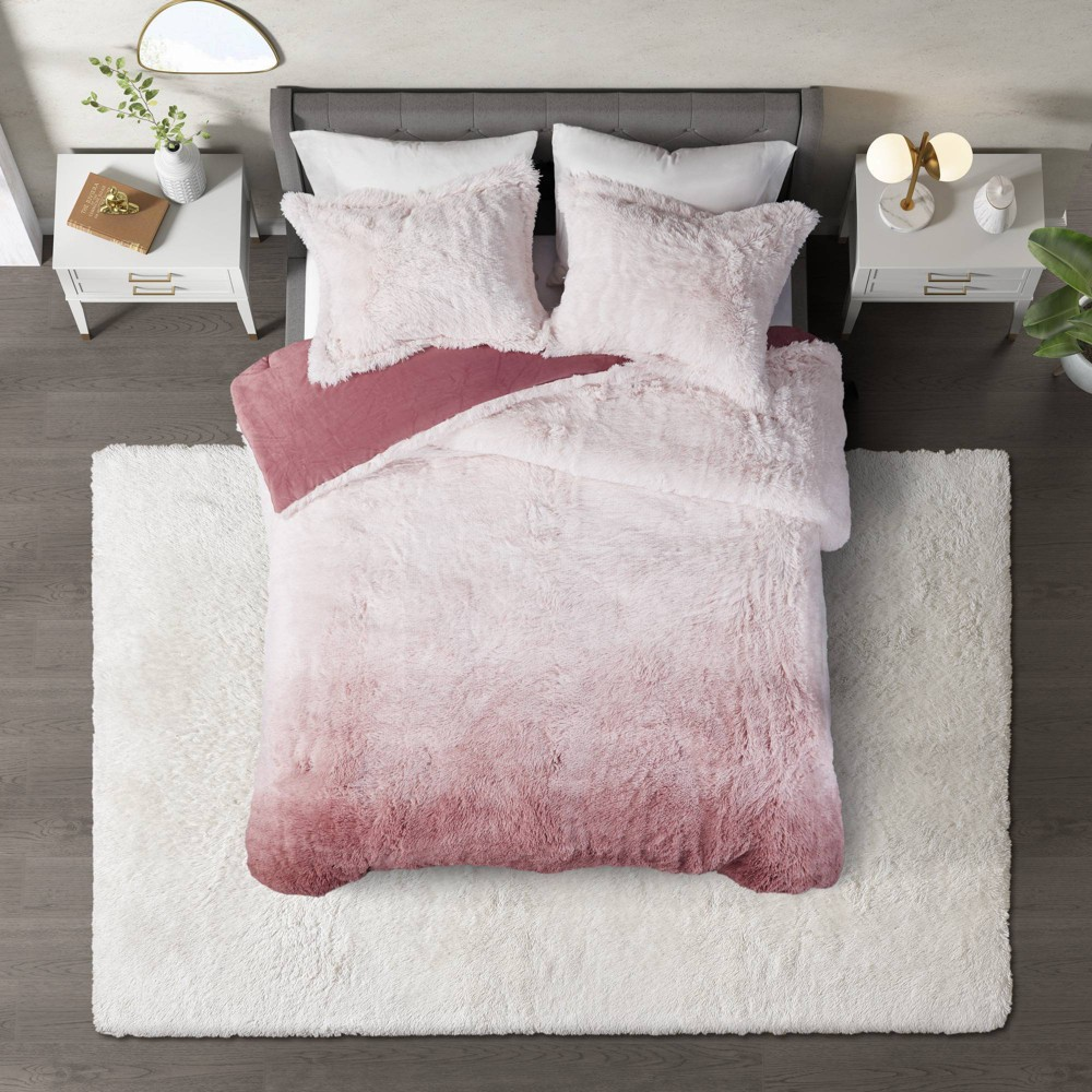 Twin Twin Xl Cleo 2pc Ombre Shaggy Faux Fur Comforter Set Blush Cosmoliving By Cosmopolitan