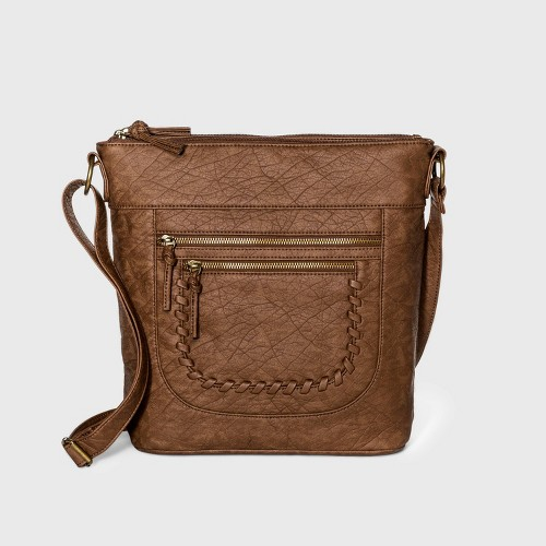 Bueno Zip Closure Crossbody Bag Light Brown