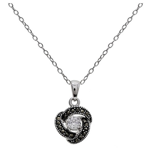 """Women's Marcasite Loveknot Pendant with Clear Cubic Zirconia in Sterling Silver - Clear/Gray (18"""") - image 1 of 1"""