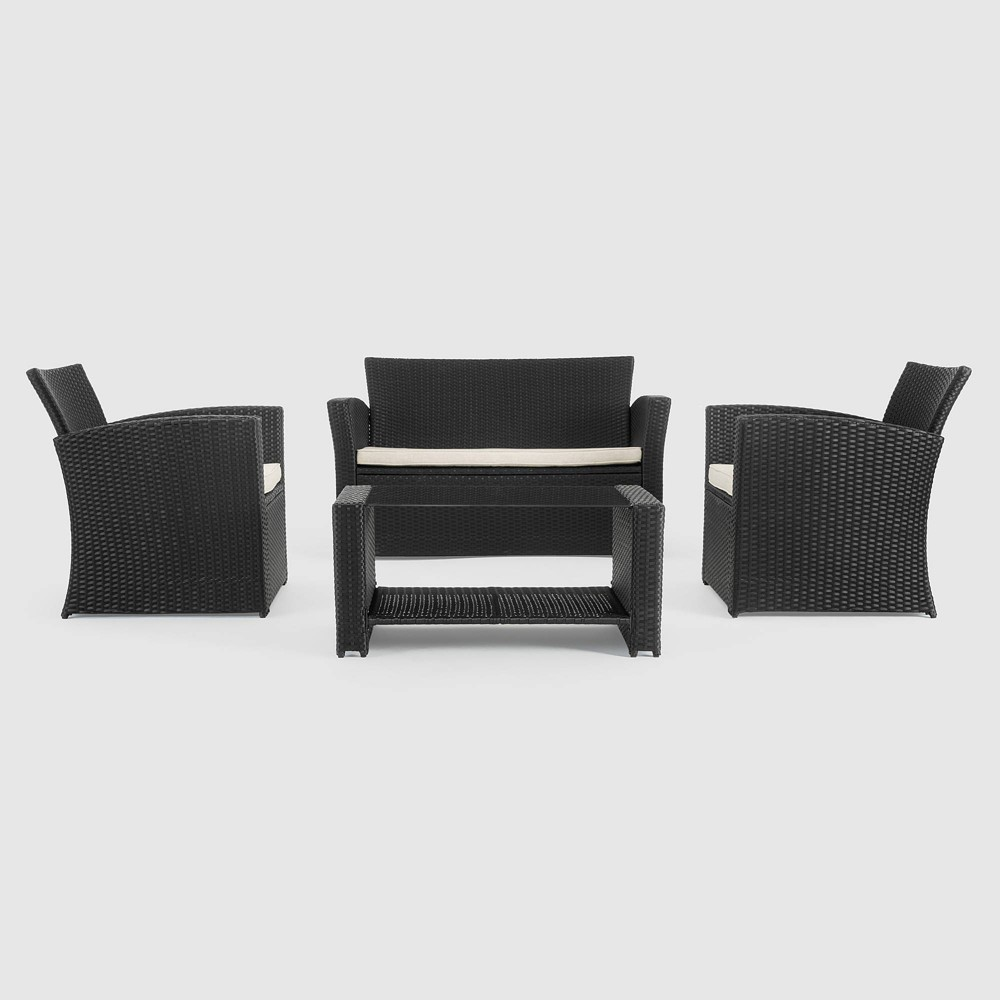 Image of Magna 4pc Patio Seating Set - Black - Sego Lily